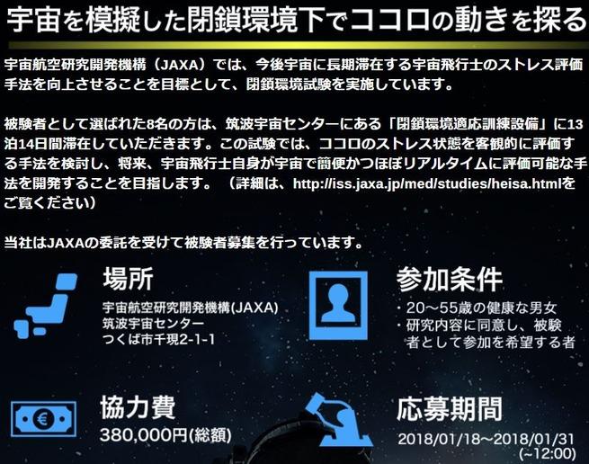 JAXAで2週間引きこもるだけのバイトの募集が始まる