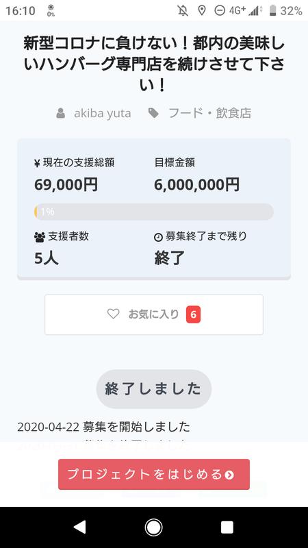 【悲報】意識高い系飲食、コロナ禍でクラウドファンディングを募るもたった7万円しか集まらず