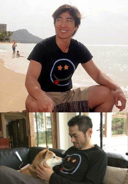 同じTシャツを着用している小笠原道大とイチロー