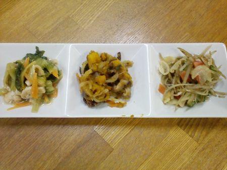 青菜の煮びたし、小豆南京、ゴボーの酢の物