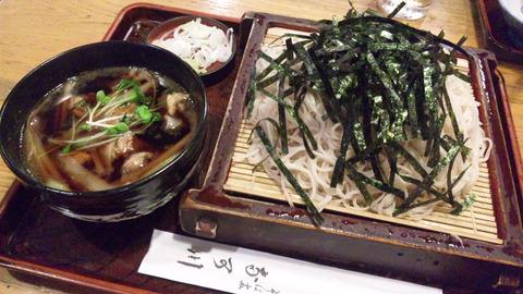 奈可川:①豚シャブツケ汁ソバ870大盛100全160907