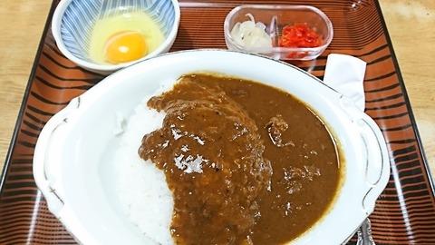 常盤仙食堂:⑥カレーライス600卵70円181121