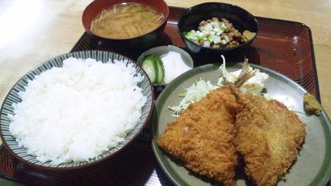 常盤仙食堂:①アジフライ定700納豆80円160125