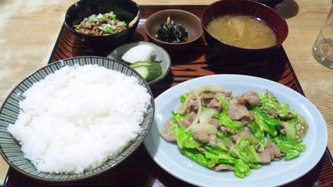 常盤仙食堂:①日替り定食納豆全景160115