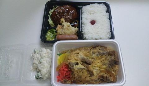 鬼っ子:①牛玉丼390ハンバグ350ポテサラ100全110413