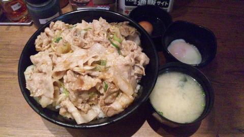 すた丼:①生姜丼630肉飯増シ250温泉卵160124