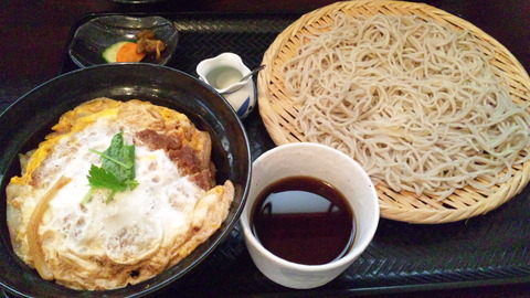 木楽:①カツ丼定食880全景120822