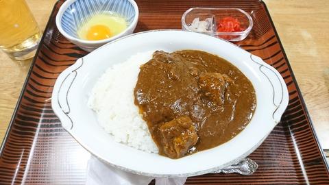 常盤仙食堂:①カレー600生卵70円190401