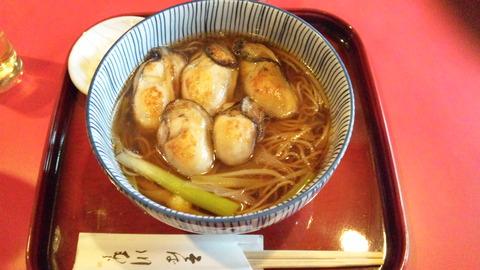 川むら:①牡蠣そば1500円全景120320