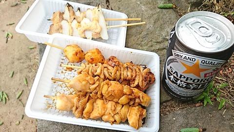 しょうぶまつり01焼鳥&缶ビール190601
