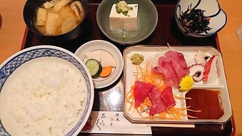 三楽:①サシミ盛リ合ワセ定食930円180721