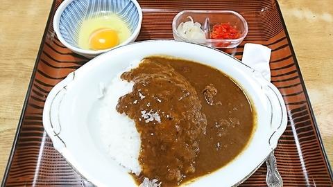 常盤仙食堂:①カレーライス600卵70円181121