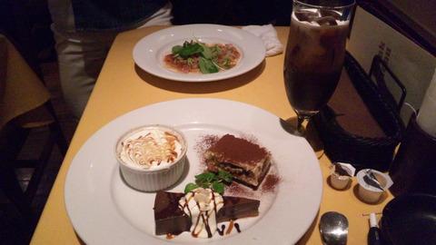 イタリア食堂:①アイスコーヒー&スイーツ3種盛160205