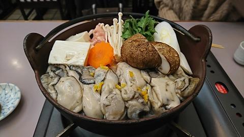 水口食堂:①かき鍋1400円火入れ前170129