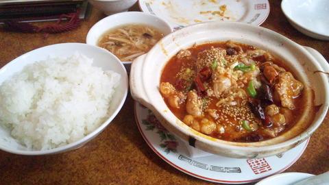 楼蘭:①豚肉鷹ノ爪スパイシー煮1250飯全150412