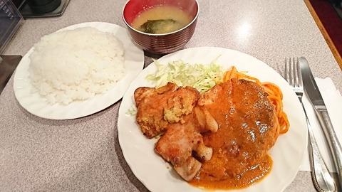 城山:①焼肉とハンバーグ飯大1350円180722