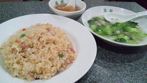 藤龍:①炒飯大盛塩漬肉チンゲンサイ全景150331