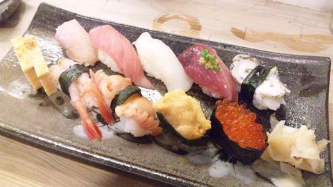 二幸寿司:①おまかせ握り3500全景160610