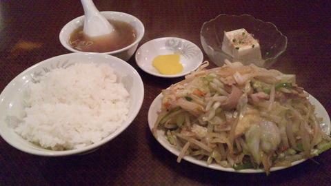 珍来:①肉野菜炒め定食850全130605