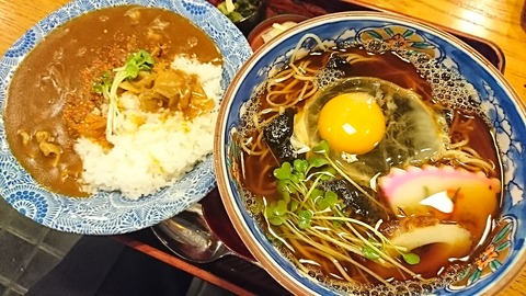 奈可川:①カレー丼800月見ソバ800円190108