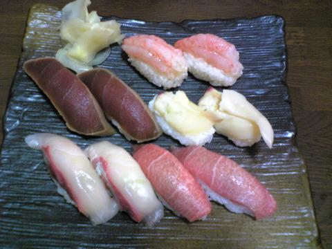 寿司いさりび:①上握り1890円二人前半分全景101023