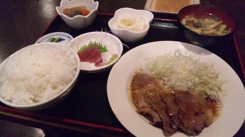 かあちゃん:①ショウガ焼定食飯大全150715