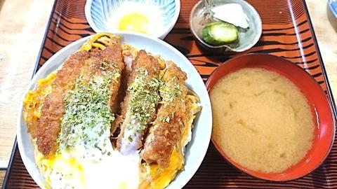 常盤仙食堂:①カツ丼大790卵70円190722