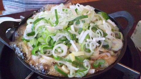 飯田屋:⑯葱を盛り掛けて煮る131116