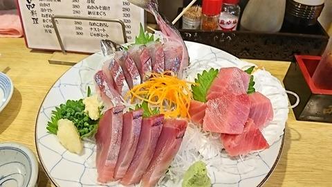 一新水産:①刺身3点盛り1200円190621