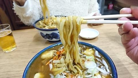翁そば:⑤平打太蕎麦箸デ摘マンデ191221