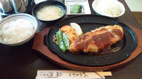 桃タロー:①特上焼きかつ定食1480円全景120506