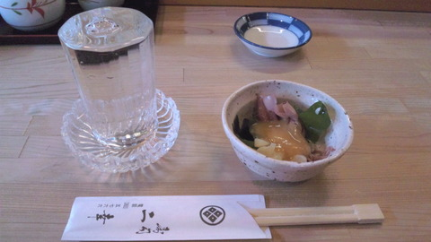 二幸寿司:①〆張鶴750円とお通し110415