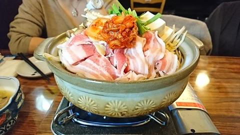 一粋家:①キムチチゲ鍋二人前1480円191227