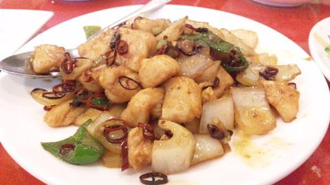 聚楽:①鶏肉と唐辛子炒め160811