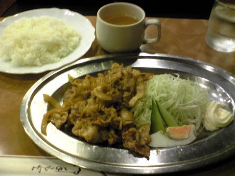 純喫茶シャレード:①生姜焼き定食1050円全景100914
