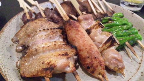 華:①焼鳥串焼き盛り140830
