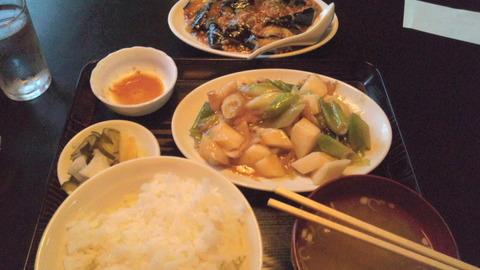 鳳来:①山芋と豚肉の炒め定食と麻婆茄子小120702