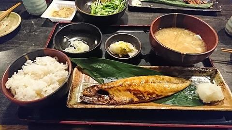 ひもの屋:①サバ塩焼キ半身定食180203