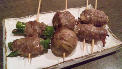 あじ彩:①肉巻野菜串三本盛合せ490円160503