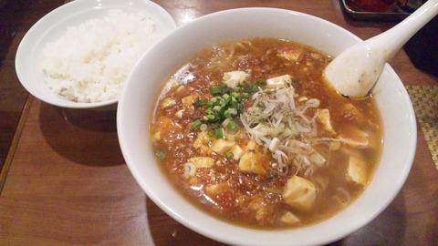 竹:①マーボーメン720円ご飯全景160615