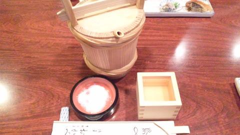 おかべ:①つの樽入り樽酒二合1400円121021