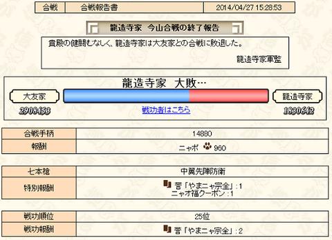 今山合戦しゅ~りょ~!!
