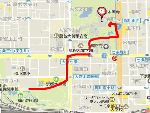 西本願寺へマップ