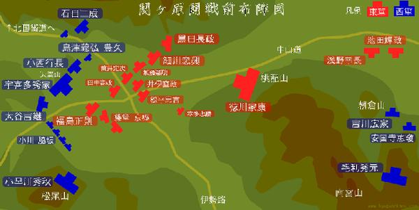 関ケ原開戦前布陣図
