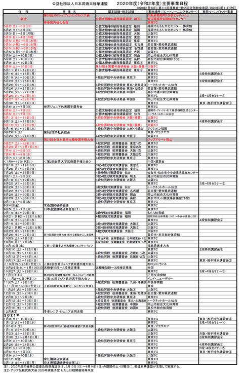 日本連盟2020年度主要事業日程・変更0312