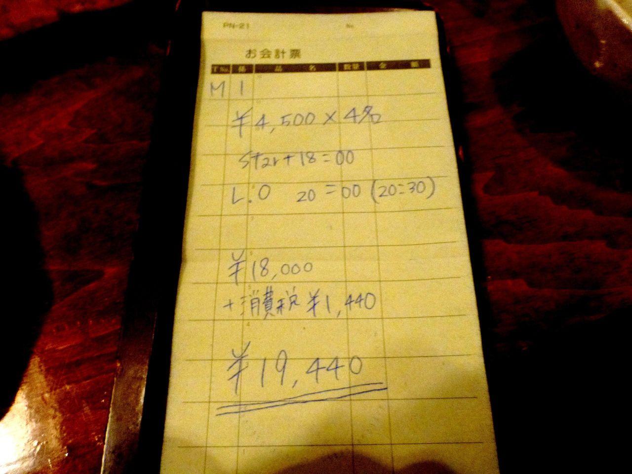 1人4,500円+消費税360円=4,860円