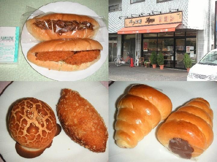 左上:名物のコロッケパン・やきそばパン、左下:辛口カレー・カマンベール、右下:チョココロネ
