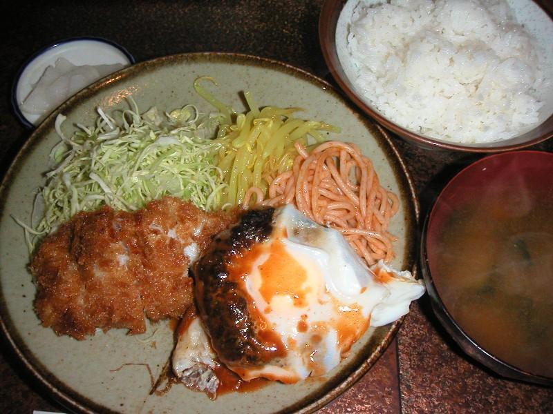 日替り定食(ジャーマンエッグ、ヒラメフライ)550円