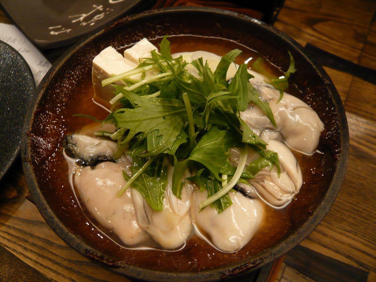 プリプリの牡蠣を使用した、黒味噌どて焼き980円
