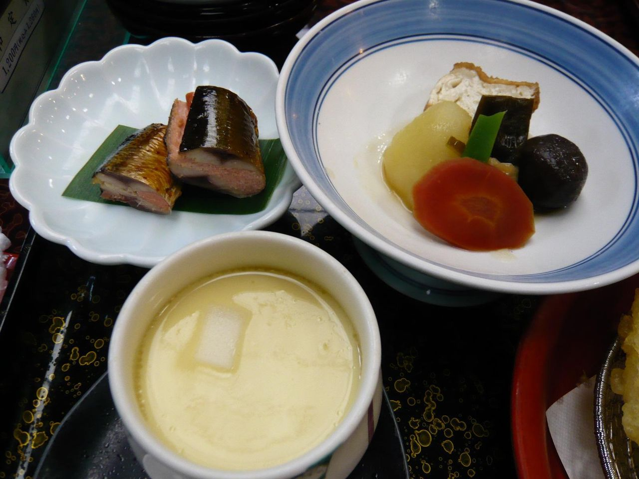 サンマ明太子、茶碗蒸し、煮物